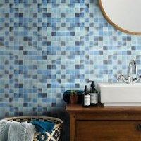 Carnival Blue & white Glass Mosaic tile sheets (L)300mm (W)300mm