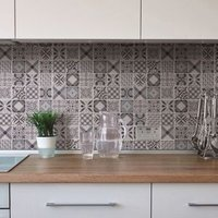3D Spiro Black & white Marble Mosaic tile (L)300mm (W)300mm