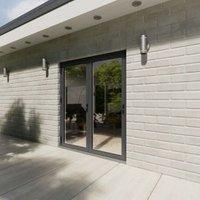Crystal Grey PVCu & Aluminium Glazed Patio Bi Folding Door  (H)2104mm (W)1804mm