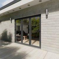 Crystal Grey PVCu & Aluminium Glazed Patio Bi Folding Door  (H)2104mm (W)2404mm