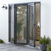 Crystal Grey PVCu & Aluminium Glazed Patio Bi Folding Door  (H)2104mm (W)3004mm