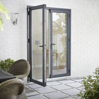 Crystal Grey PVCu & aluminium Glazed Standard French double door  (H)2104mm (W)1204mm