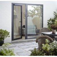 Crystal Grey PVCu & Aluminium Glazed Standard Single Door  (H)2104mm (W)920mm