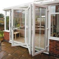 PVC-U White Smooth Glazed External Bi-Folding Door  (H)2090mm (W)2390mm