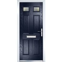 Crystal 6 panel Frosted Glazed Navy blue Composite LH External Front Door set  (H)2055mm (W)920mm
