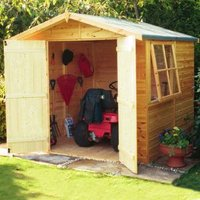 7X7 Alderney Apex Shiplap Wooden Shed with Assembly Service Base Included