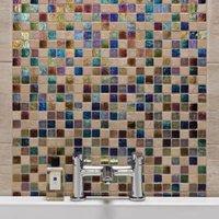 Stone & glass Mosaic tile  (L)300mm (W)300mm