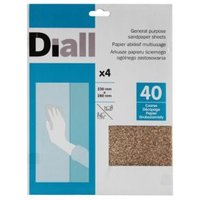 Diall 40 Coarse Sandpaper Sheet  Pack of 4