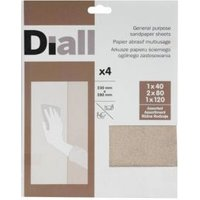 Diall Mixed Grit Assorted Sandpaper Sheet  Pack of 4