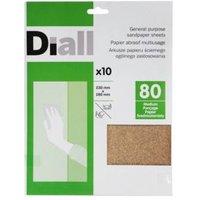 Diall 80 Medium Sandpaper Sheet  Pack of 10