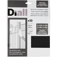 Diall Mixed Grit Assorted Sandpaper Sheet  Pack of 10