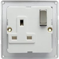 Colours 13A Silver Steel Effect Switched Socket Backplate
