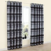 Dill Black & Grey Striped Faux Silk Eyelet Lined Curtains (W)117 cm (L)137 cm