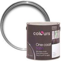 Colours One Coat Interior & Exterior Pure Brilliant White Satin Wood & Metal Paint 2.5L