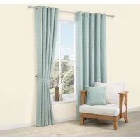 Albertina Duck Egg Striped Woven Eyelet Lined Curtains (W)117 cm (L)137 cm