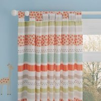 Animal Cream and Orange Striped Printed Tab Top Childrens Curtains (W)168cm (L)137cm