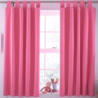 Pink Plain Tab Top Childrens Curtains (W)168cm (L)137cm