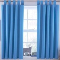 Ardella Blue Plain Tab Top Blackout Childrens Curtains (W)168cm (L)137cm