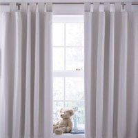 Cream Plain Tab Top Childrens Curtains (W)168cm (L)137cm