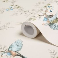 Colours Heligan Cream Birds Mica effect Smooth Wallpaper