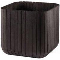 Square Plastic Wood Effect Planter (H)395mm (L)395mm