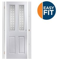 4 Panel Pre-painted White Glazed Internal Door kit For opening sizes (W)759-771mm (H)1988-1996mm (D)35mm