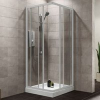 Plumbsure Square Shower Enclosure with Double Sliding Doors (W)800mm