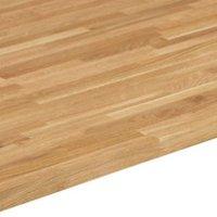26mm Square edge Solid oak Worktop (L)3m (D)600mm