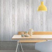 Ideco Home Grey Wood Panel Wallpaper