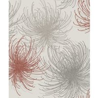 Gold Cosmo Red Floral Glitter Effect Wallpaper