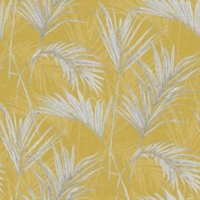 Grandeco Palm springs Grey & yellow Leaf Metallic effect Wallpaper