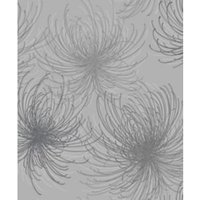 Gold Cosmo Grey Floral Glitter effect Blown Wallpaper