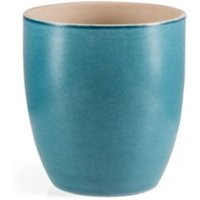 Round Glazed Terracotta Blue Painted Plant Pot (H)195mm (Dia)180mm