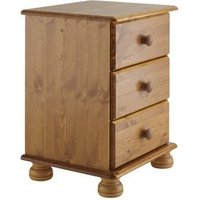 Malmo Stained Pine 3 Drawer Bedside chest (H)581mm (W)441mm (D)383mm