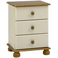 Oslo Cream Pine 3 Drawer Bedside chest (H)581mm (W)441mm (D)383mm
