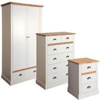 Hemsworth Cream oak effect 3 piece Bedroom furniture set.