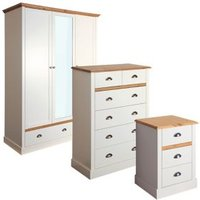 Hemsworth Cream oak effect 3 piece Bedroom furniture set
