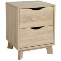 Metcalfe Oak effect Matt 2 Drawer Bedside chest (H)524mm (W)407mm (D)390mm