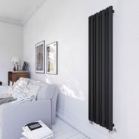 Terma Durham Vertical Radiator Metallic black Textured (H)1600 mm (W)425 mm