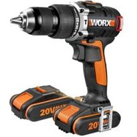 Worx Powershare Cordless 20V 2Ah Li-Ion Brushless Hammer Drill 2 Batteries WX373