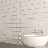 Windsor White Gloss Ceramic Wall tile Pack of 30 (L)300mm (W)100mm