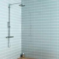 Windsor Blue Gloss Ceramic Wall tile Pack of 30 (L)300mm (W)100mm
