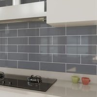 Windsor Grey Gloss Ceramic Wall tile Pack of 30 (L)300mm (W)100mm