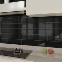 Windsor Black Gloss Ceramic Wall tile Pack of 30 (L)300mm (W)100mm