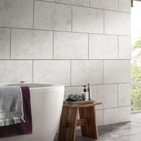 Oscano Light grey Matt Stone effect Ceramic Wall & floor tile Pack of 6 (L)300mm (W)600mm