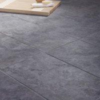 Oscano Anthracite Matt Stone effect Ceramic Wall & floor tile Pack of 6 (L)300mm (W)600mm