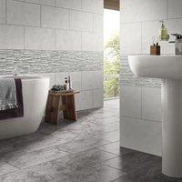 Oscano Grey mix Matt Splitface Stone effect Ceramic Wall tile Pack of 6 (L)300mm (W)600mm
