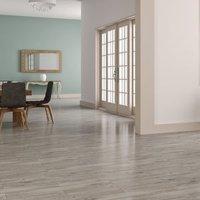 Ashdown Grey Matt Wood effect Porcelain Wall & floor tile Pack of 8 (L)900mm (W)150mm