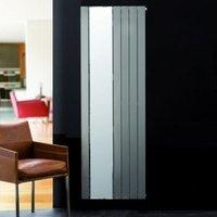 Ximax Vertirad Mirror Vertical Designer radiator Silver effect (H)1800 mm (W)595 mm