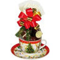 Christmas Design Cup, Saucer and Plate with Belgian Chocolates